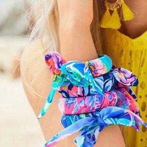 3 Lilly Pulitzer Fabric Wrapped Bangles